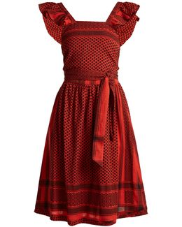 Open-back Scarf-jacquard Cotton Dress