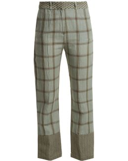 Checked Cotton And Linen-blend Trousers