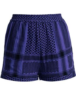 High-rise Scarf-jacquard Cotton Shorts