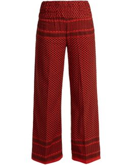 Wide-leg Scarf-jacquard Cotton Trousers