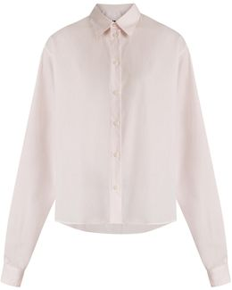 Point-collar Pinstriped Cotton Shirt