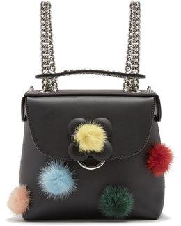 Fur Pompom-embellished Mini Leather Backpack