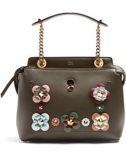 Dotcom Small Flower-appliqué Leather Bag