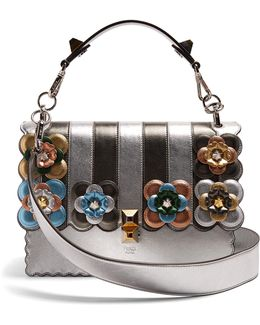 Kan I Flower-appliqué Leather Shoulder Bag