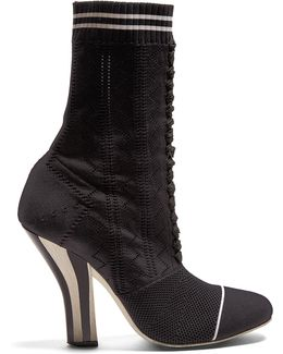 Striped-heel Sock Boots