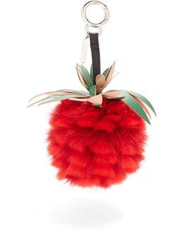Pineapple Leather And Fur Bag Charm