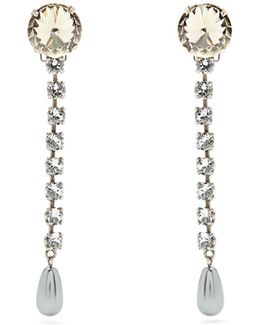 Faux-pearl And Crystal Clip-on Drop Earrings