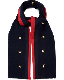 Star And Web-striped Wool-blend Scarf