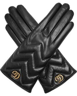 Chevron-quilted Leather Gloves