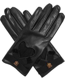 Grosgrain-bow Leather Gloves
