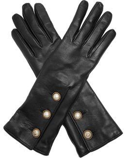 Button-fastening Leather Gloves
