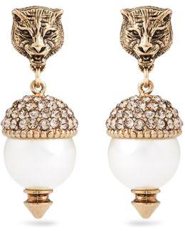 Feline Pearl-effect Embellished Earrings