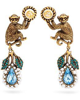 Monkey And Flower Earrings