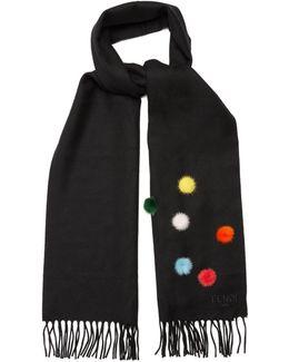 Fur Pompom-embellished Wool Scarf