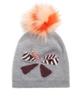 Butterflyeye Fur-pompom Wool Beanie Hat
