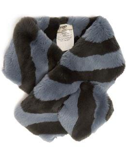 Striped Rabbit-fur Collar