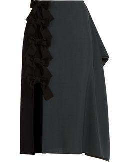 Extended-seam Wool-blend Pencil Skirt