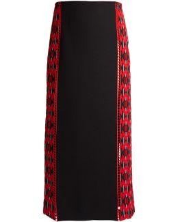 Lozenges-jacquard Wool And Silk-blend Midi Skirt