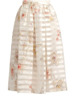 Blooming-print Striped Silk-organza Skirt