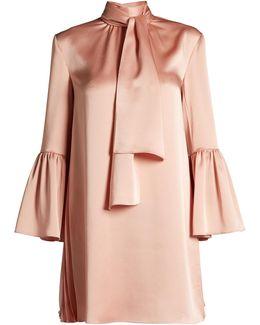 Pleat-side Tie-neck Satin Mini Dress
