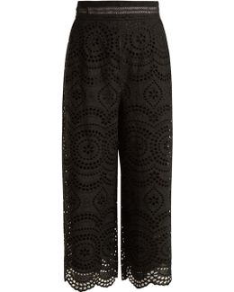 Meridian Cropped Broderie-anglaise Cotton Trousers