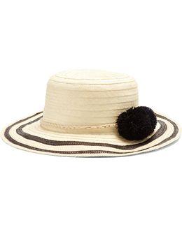 Laila Pompom-embellished Raffia Hat