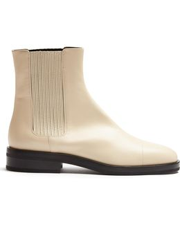 Contrast-sole Leather Ankle Boots