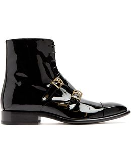 Monk-strap Patent-leather Ankle Boots