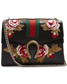 Dionysus Floral-embroidered Leather Shoulder Bag