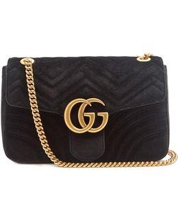 Gg Marmont Medium Quilted-velvet Cross-body Bag