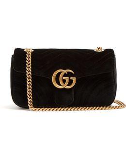 Gg Marmont Quilted-velvet Cross-body Bag