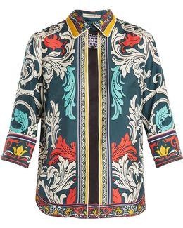 Rita Queens-print Silk-twill Top