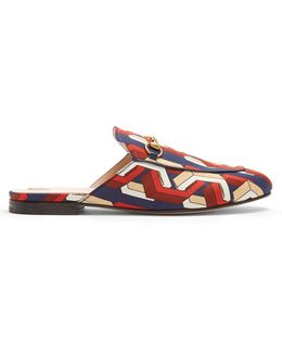 Princetown Web Chain-print Satin Loafers