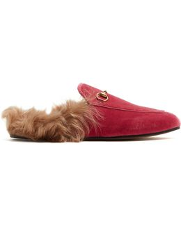 Princetown Shearling-lined Velvet Loafers