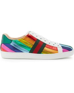 New Ace Contrast-panel Leather Low-top Trainers