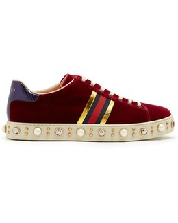 New Ace Faux-pearl Embellished Velvet Trainers