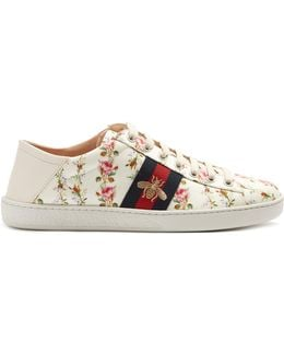 New Ace Rose-print Foldable-heel Canvas Trainers