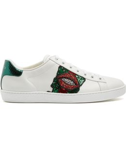 New Ace Lips-embellished Leather Trainers