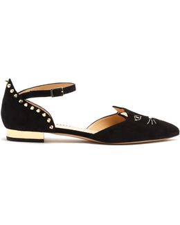 Mid-century Kitty D'orsay Suede Flats