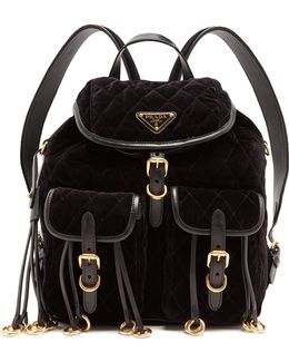Leather-trimmed Quilted-velvet Backpack