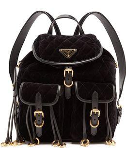 Leather-trimmed Quilted-velvet Backpack