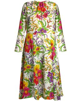 Floral-jacquard Gathered Midi Dress