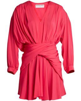 Uplifted Wraparound-waist Silk-blend Dress