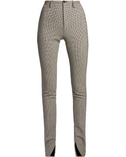 Hound's-tooth High-rise Skinny Trousers