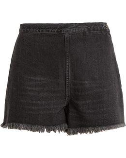 Ignite High-rise Raw-edge Denim Shorts