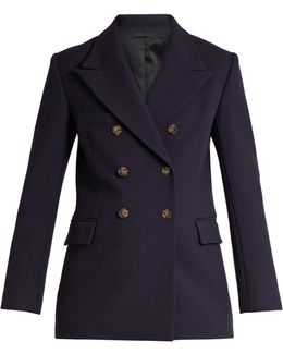 Peak-lapel Double-breasted Wool Jacket