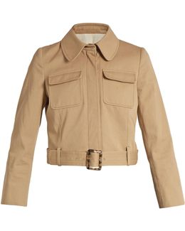 Belted-hem Cropped Cotton Jacket