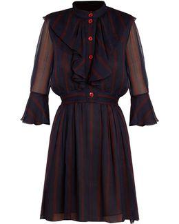 Ruffle-trimmed Stripe-print Crepe Dress