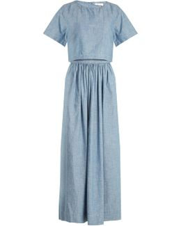 Cropped-overlay Cotton-chambray Dress