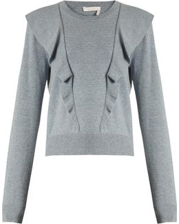 Frilled Cashmere And Cotton-blend Sweater